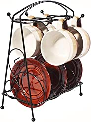 Worthy Shoppee Coffee Cup Rack Stand, Coffee Cup and Saucer Holders for Counter, 6 Hooks