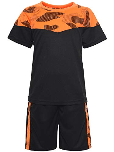 Orange Kostüm Shorts - Kinder Jungen Sommer Set T-Shirt Rundhals Stoff Shorts Capri Loose Fit 30083 Orange 152
