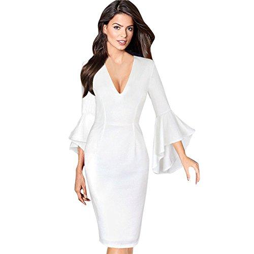 MIRRAY Damen Tief V-Ausschnitt Brautkleid Abendkleider Flare Bell Langärmliges Figurbetontes Kleid für Die Party (Weiß,Medium)
