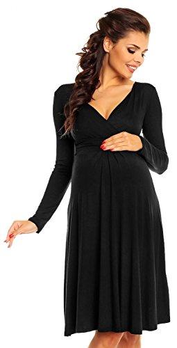 Zeta Ville maternité - robe jersey de grossesse - manche longue - femme - 890c Noir