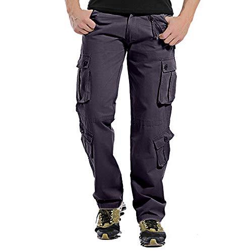 MERICAL Moda Uomo Casual Button Esterna Multi-Pocket Lavoro Pantaloni Cargo Pantaloni Lunghi(Grigioscuro,36)