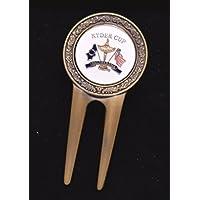 Golfas 'puede arreglapiques de latón con diseño Ball Marker Ryder Cup bonito regalo en la caja de regalo