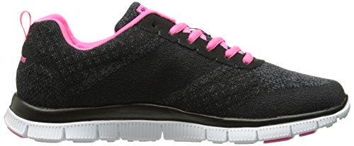 Skechers  Flex AppealSimply Sweet, Sneakers Basses femme Noir (Noir/Rose)