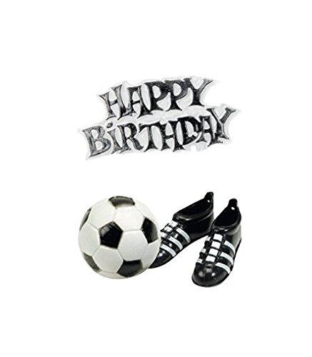 CREATIVE Fussball-Kuchendeko Happy Birthday 3-teilig schwarz-Weiss Einheitsgröße (Und Weiß-happy Birthday Schwarz)