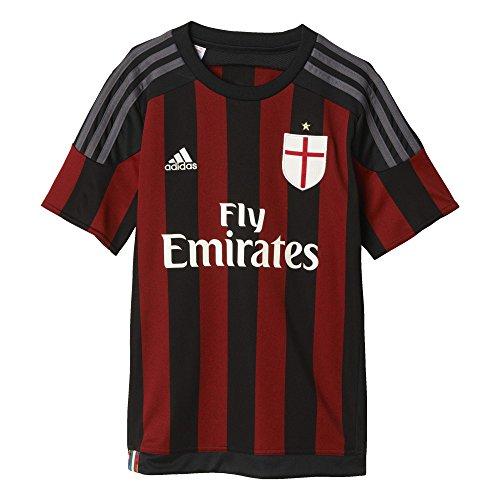 Adidas, maglietta bambino ac milan home, nero (black/victory red s04/granite), 140 cm
