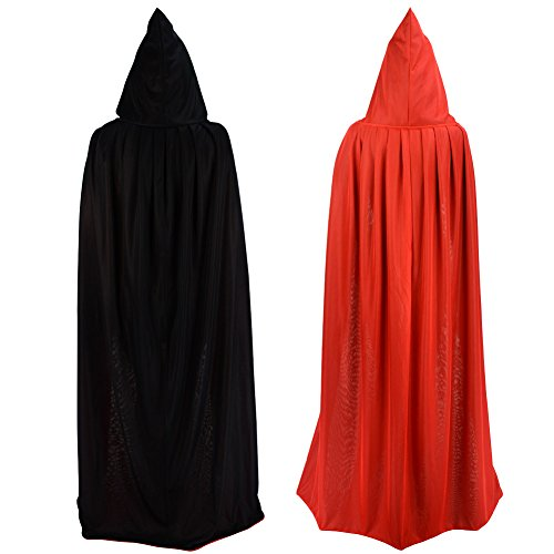 Schwarze Mit Kapuze Robe (Umhang/Cape doppelseitig rot schwarz mit Kapuze Halloween Ostern Weihnachten Gothic Vampir)