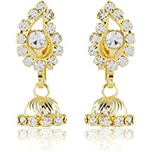 FirstBlush Non Pierced Gold and White Alloy Clip-On Earrings for Girls (CLI-8105-GL)