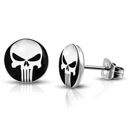 7mm Edelstahl mit Acryl 2-Ton Punisher Schädel Runde Kreis Stud Biker Ohrringe