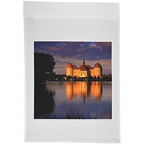 3dRose FL _ 56113_ 1Beautiful Castello in Germania luci notturne al giardino Bandiera, 12da 18pollici