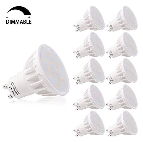 LOHAS® GU10 LED Lampe, 6W Dimmbar LED GU10 Ersatz für 50W Halogenlampen, Warmweiß 3000K, 500lm, CRI>80, 120 Grad Abstrahlwinkel, LED Birnen, LED Leuchtmittel, 10er Pack