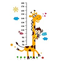 Height Chart Wall Sticker, Removable Growth Wall Decal, Giraffe Height Growth Measure Sticker for Kids Nursery Bedroom Living Room Decoration