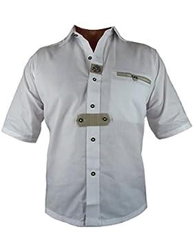 Bangla Trachtenhemd Herren Hemd Kurzarm Oktoberfest 1248 weiss bestickt S - 4 XL