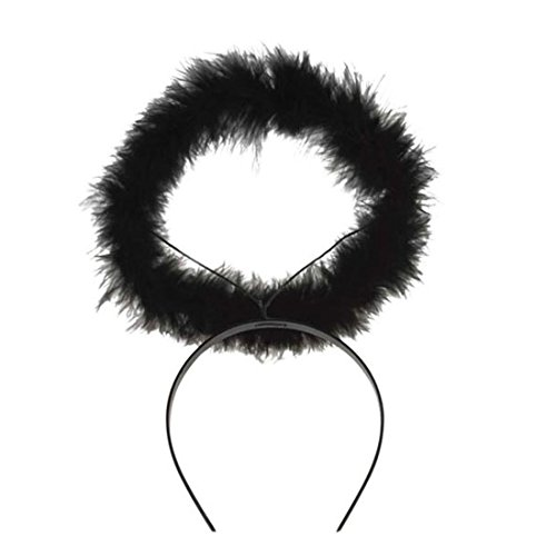 Amakando Engel Haarreifen Heiligenschein schwarz Aureole Glorie Haarreif Engelchen Kostüm Accessoire Damen Engelkostüm Glorienschein