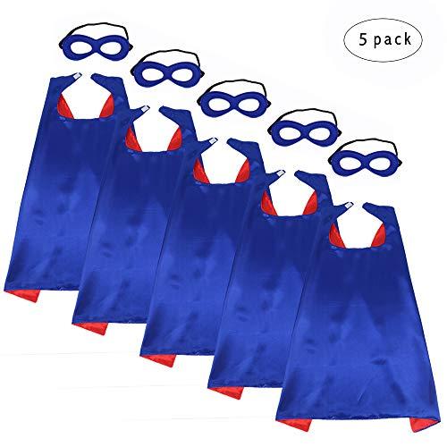 Blau Superhelden Cape Kostüm Kind - 5 Stück Jungen Mädchen Superheld Umhänge und Masken Verrücktes Kleid Kostüme für Kinder Kostüme Geburtstag Partydekorationen(blau-rot)