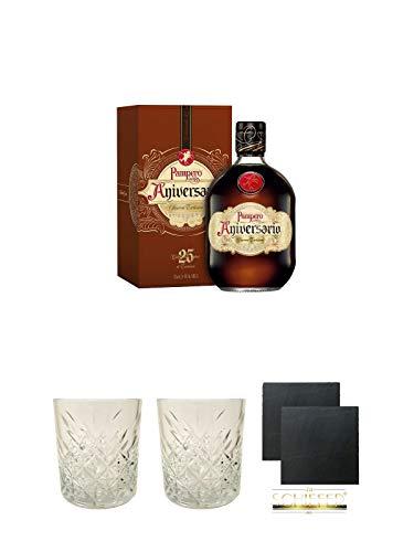 Pampero Aniversario Reserva Rum Venezuela 0,7 Liter + Rum Glas 1 Stück + Rum Glas 1 Stück + Schiefer Glasuntersetzer eckig ca. 9,5 cm Ø 2 Stück