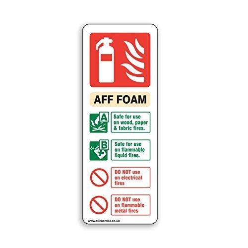 Aufkleber, selbstklebend, Hinweisschild AFF-Schaum-Feuerlöscher, in englischer Sprache, 75 x 200 mm, 5 Stück