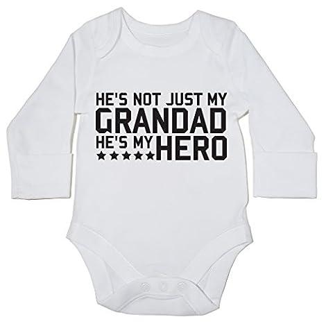 HippoWarehouse He's not just my grandad he's my hero baby bodysuit (long sleeve) boys girls