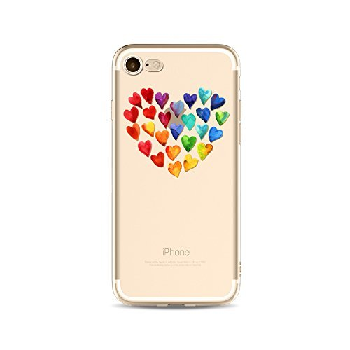 Coque iPhone 7 Plus Housse étui-Case Transparent Liquid Crystal en TPU Silicone Clair,Protection Ultra Mince Premium,Coque Prime pour iPhone 7 Plus-Coeur-style 6 15