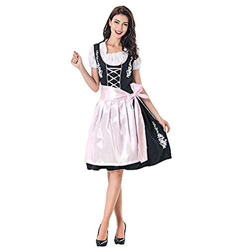 jkhhi Oktoberfest Dienstmädchen Kellnerin Kleid Blusenkleider Dirndl Damen Kurzarm Midikleid Spitzenkleid traditionell Elegante Kleidung karnevalskostüme -