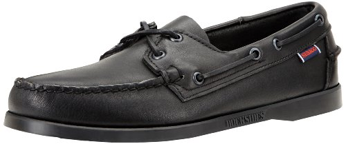 Sebago docksides b72, scarpe da barca uomo, nero (black leather), 44 eu