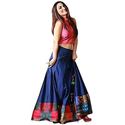 fashionable_village Women's Satin Long Skirt Gown And Top (Yamini_01 _Red & Blue_ Free Size)