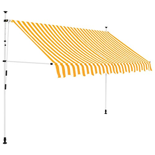 vidaXL Markise Einziehbar Manuell 300cm Gelb Weiß Sonnenschutz Klemmmarkise
