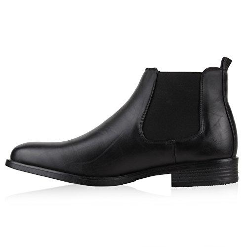Stylische Herren Stiefeletten | Chelsea Boots | Business Schuhe Leder-Optik | Knöchelhohe Stiefel Schwarz Gefüttert