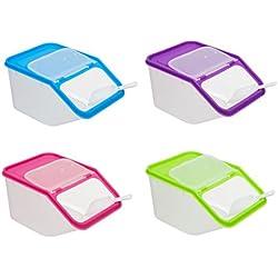 Invero 4x unidades de cocina Almacenamiento de alimentos secos bote de plástico recipientes con cuchara ideal para pasta, cereales, arroz, y más de comida para mascotas