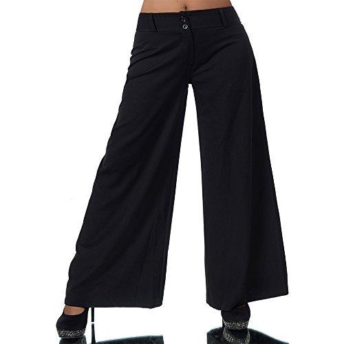 H930 Damen Business Stoffhose Elegante Bootcut Hose Classic Schlaghose Schlag, Farben:Schwarz, Größen:36 S (Etikett T2)