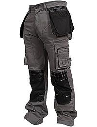 newfacelook Men Work Trousers Combat Cargo Working Pants Heavy Duty Multi Pockets Cordura Knee Worker Trouser