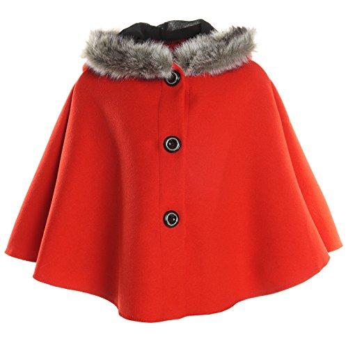 Mädchen Strick Poncho Kapuze Stola Kunstfell Rundhals Hoodie Kinder Winter 20792, Farbe:Rot;Größe:164 (Mädchen Rollkragenpullover Pulli)
