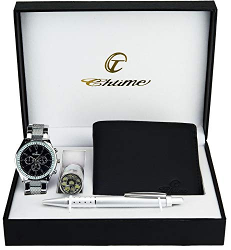 Caja de Regalo Reloj Hombre Negro - Lámpara LED - Billetera -Bolígrafo