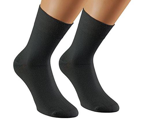 Vitasox 43033 Damen Herren Socken Bambus einfarbig ohne Gummi ohne Naht 12er Pack schwarz 39/42 (Socken Diabetiker-casual)