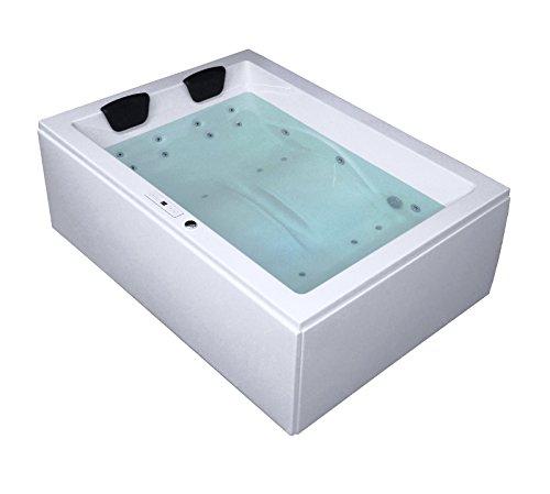 Whirlpool Badewanne Rechteck - Sylt Premium 2 Personen Made in Germany Whirlwanne Indoor NEU (180x130x66 cm)