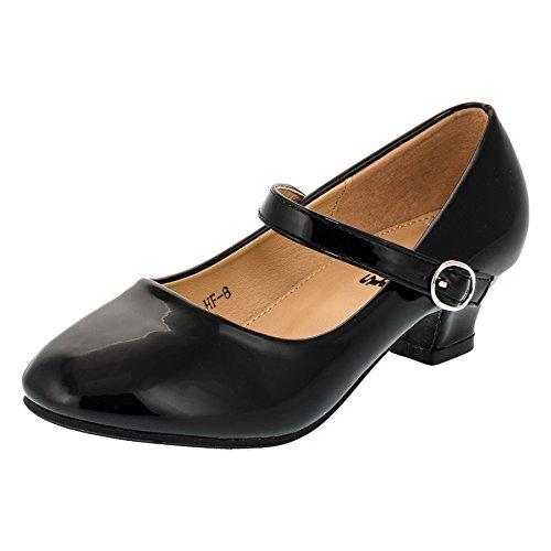 Festliche Mädchen Pumps Ballerina Schuhe Absatz Lackoptik in Vielen Farben M322sw Schwarz Gr.30