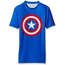 UNDER ARMOUR paquete de 2 Camisa de compresión de superhéroes Hombres, Batman, Capitán América, Flash, Superman, Punisher (Captain America azul, L)