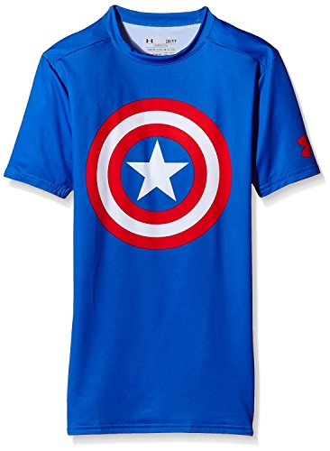 UNDER ARMOUR 2er Pack Superhelden Kompressionsshirt Herren, Batman, Captain America, Flash, Superman, Punisher (Captain America Blau, M)