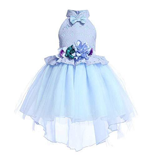 Frauenkleid Mädchen Kleid Bogen Prinzessin Kleid Satin Performance Piano Kostüm 3-9 Jahre altes Mädchen Kleid (Color : Blue, Size : 3-4Years) Blue Bubble Kleid