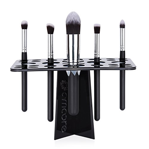 amoore-makeup-brush-holder-air-drying-rack-organizer-with-26-mix-size-slots-black