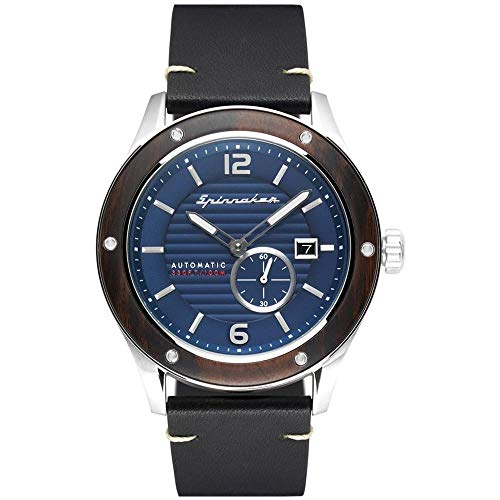 SPINNAKER Men's Sorrento 43mm Black Leather Band Steel Case Automatic Blue Dial Analog Watch SP-5067-02