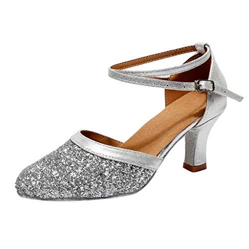 Trisee Sandalen Damen Sommer Sandaletten Mode Glitzer Pumps Schnalle High Heels Kitten-Heel Tanzschuhe Hochzeit Abiball Sandalen Ankle-Wrap Absatzschuhe Geschlossene Sommerschuhe Heel Ankle Wrap