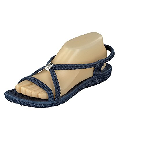 Siebi's Tenno Damen Dusch- und Bade Sandalen Schuhe Schwarz (40, Navy (Blau))