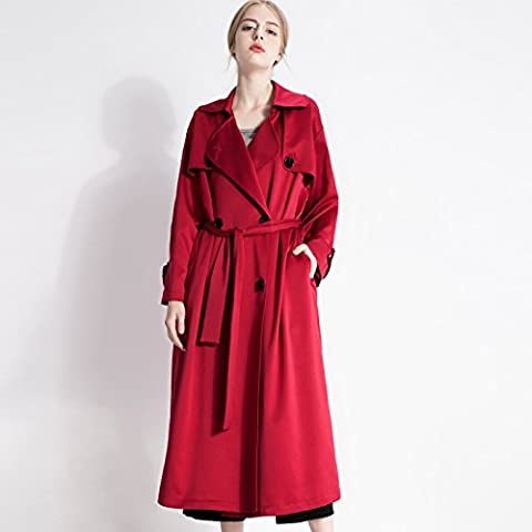 WH New Europe And Plus Size Women Wear A Solid Color In The Autumn Big Windbreaker Jacket , red