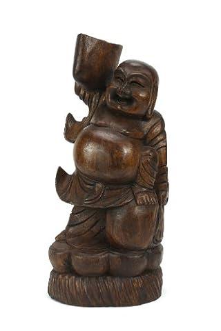 Statue chinoise Happy Buddha en bois de teck, 31cm de