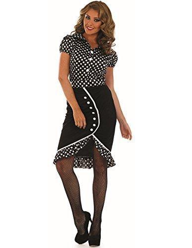 Damen Sexy 1940er jahre Pin Up Babe 40er jahre Kostüm Kleid Outfit UK 8-26 Übergröße - Schwarz, 24-26