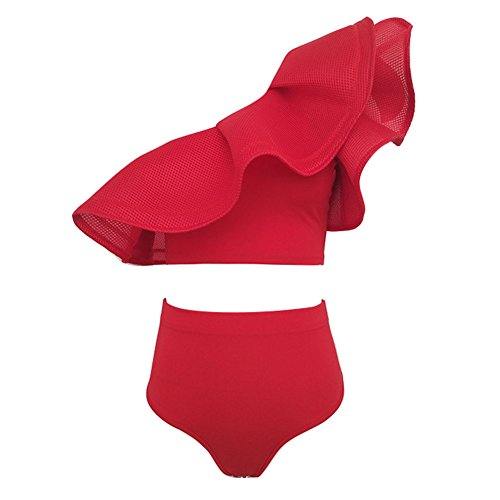 Ruffled Bikini (hibote Frauen One Shoulder Ruffled Zwei Stuck Bikini Set Red L)
