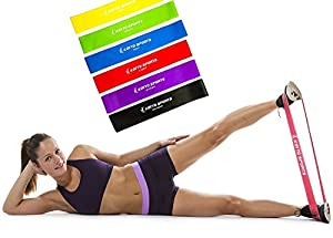 Exercise Bands Set - 6 Resistance Loop Bands plus Workout E-book Manual and Lifetime Guarantee for Improving Mobility, Rehabilitation and Strength Training