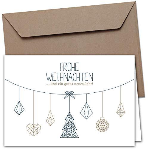 20 Klappkarten & 20 Umschläge: Weihnachtskarten - Nordische Weihnacht - 165 x 115 mm, matter Naturkarton mit Blanko-Innenseiten für Weihnachtsgrüße an Familie, Freunde, Kunden