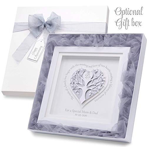 Personalised 25th Wedding Anniversary Gift, Embellished With Glittering Crystals From Swarovski 40th 60th, 50th 10th