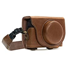 MegaGear MG589 Sony Cyber-shot DSC-RX100 VI, DSC-RX100 V, DSC-RX100 IV Ever Ready Leather Camera Case with Strap - Dark Brown
